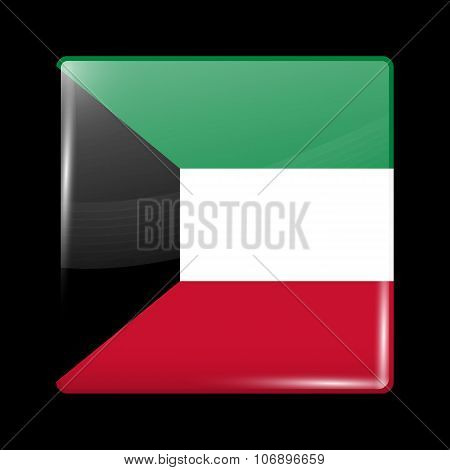 Flag Of Kuwait. Glassy Icon Square Shape