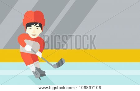 An asain ice-hockey player skating with a stick at the rink vector flat design illustration. Horizontal layout with a text space for a social media post.