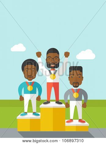 Three african-american male athletes with medals standing on a pedestal vector flat design illustration. Vertical poster layout with a text space.