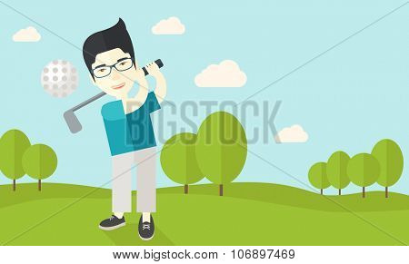 An asian golf player wearing glasses hitting the ball on the field vector flat design illustration. Horizontal layout with a text space for a social media post.