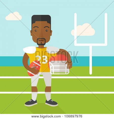 An african-american rugby player with ball and helmet in hands standing on the stadium vector flat design illustration. Square layout.
