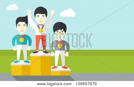 Three asian male athletes with medals standing on a pedestal vector flat design illustration. Horizontal layout with a text space for a social media post.