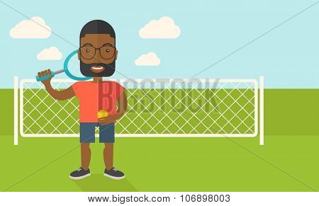 An african-american big tennis player holding a tennis racket and a ball while standing on tennis court vector flat design illustration. Horizontal layout with a text space for a social media post.