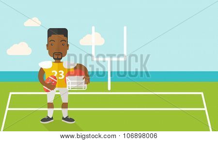 An african-american rugby player with ball and helmet in hands standing on the stadium vector flat design illustration. Horizontal layout with a text space for a social media post.