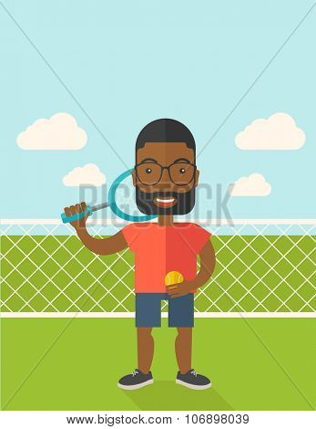 An african-american big tennis player holding a tennis racket and a ball while standing on tennis court vector flat design illustration. Vertical poster layout with a text space.