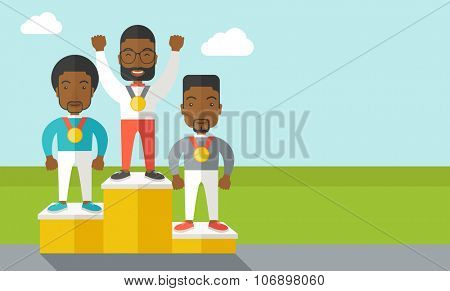 Three african-american male athletes with medals standing on a pedestal vector flat design illustration. Horizontal layout with a text space for a social media post.