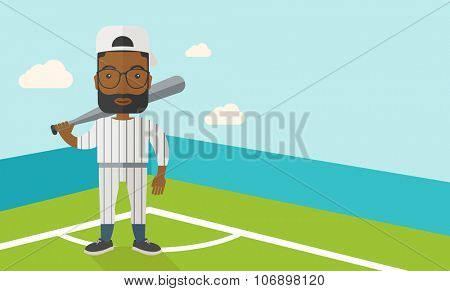 An african-american baseball player standing with a bat in a field vector flat design illustration. Horizontal layout with a text space for a social media post.