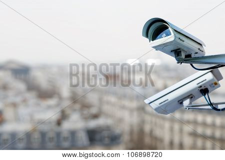 Security Camera On A City