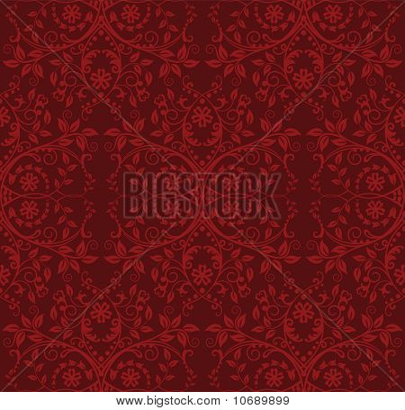 Detailed Red Floral Wallpaper