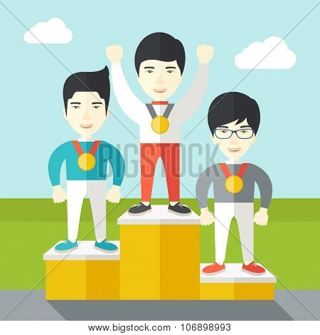 Three asian male athletes with medals standing on a pedestal vector flat design illustration. Square layout.