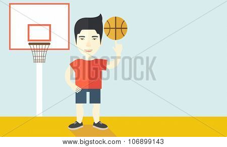 An asian professional basketball player spinning ball on his finger vector flat design illustration. Horizontal layout with a text space for a social media post.