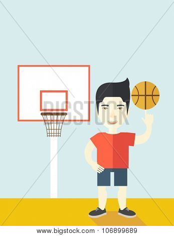 An asian professional basketball player spinning ball on his finger vector flat design illustration. Vertical poster layout with a text space.