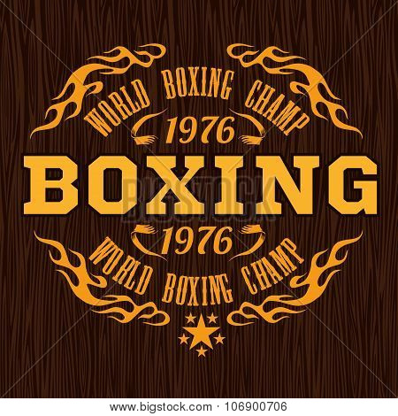 Vintage logo for a boxing - gold on wood background