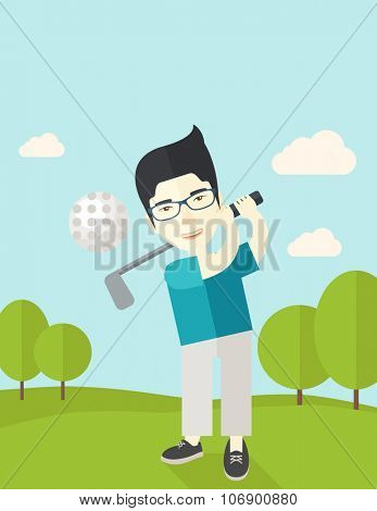 An asian golf player wearing glasses hitting the ball on the field vector flat design illustration.  Vertical poster layout with a text space.