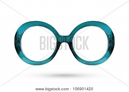 Fashion Blue Glasses Style Plastic-framed Isolated On White Background.