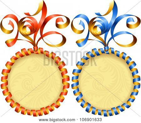 Vector New Year 2016 circle frame set. Red and blue streamer