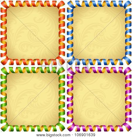 Vector holiday square frame set. Red, blue, green and purple streamer