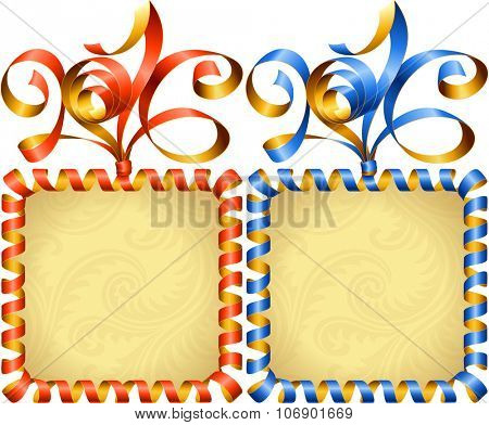 Vector New Year 2016 square frame set. Red and blue streamer