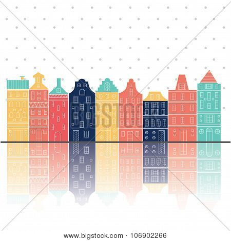 Amsterdam Houses Style Relection Pastel Color
