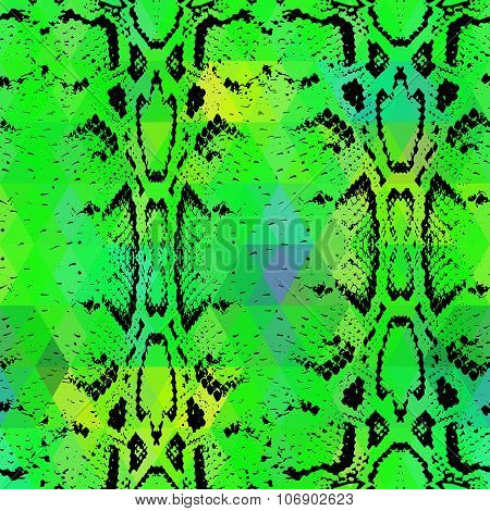 Snake Skin Texture  With Colored Rhombus. Geometric Background. Seamless Pattern Black Green Backgro