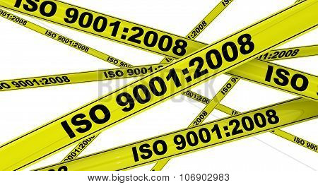 ISO 9001:2008. Yellow warning tapes