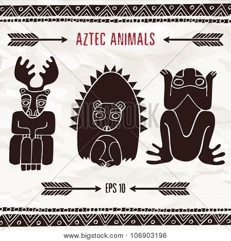 Hand Drawn Aztec Fantastic Animals In Brown Colors
