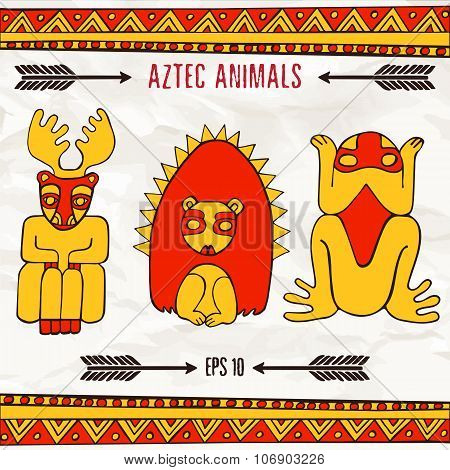 Hand Drawn Aztec Fantastic Animals In Red And Yellow Colors