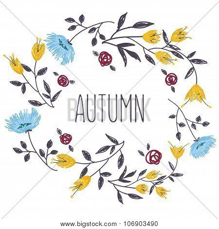 Autumnal round frame.