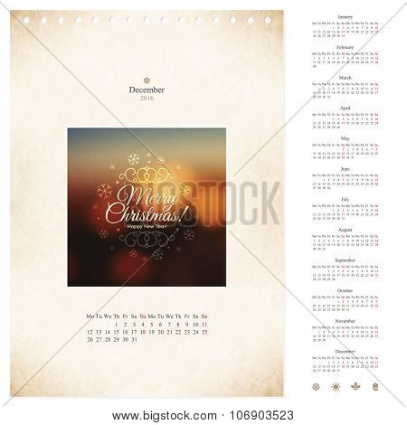 Vector 2016 loose-leaf calendar template with picture frame