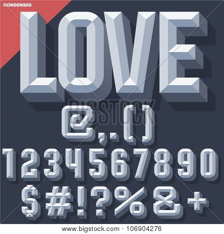 Vector 3D grey set of condense beveled numbers and symbols with shadow. Simple colored version.