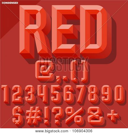 Vector 3D red set of condense beveled numbers and symbols with shadow. Simple colored version.