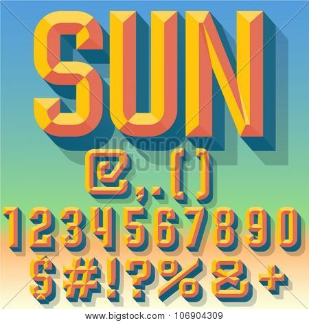 Vector 3D summer set of condense beveled numbers and symbols with shadow. Multicolored version.