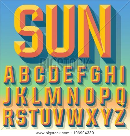 Vector 3D summer condense beveled alphabet with shadow. Multicolored version.