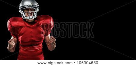 Irritated American football player in red jersey screaming against black