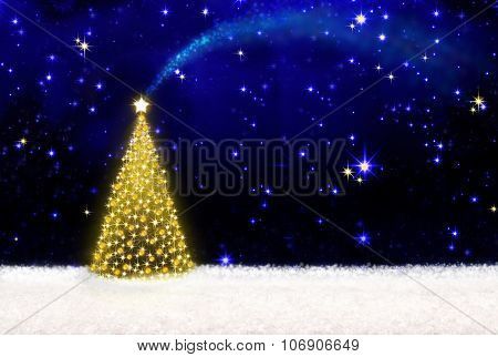 Christmas tree and starry sky.