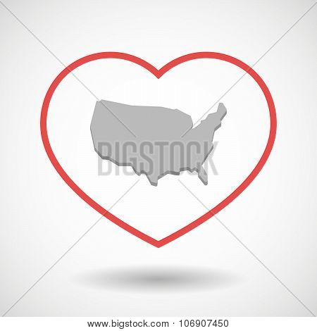 Line Hearth Icon With  A Map Of The Usa
