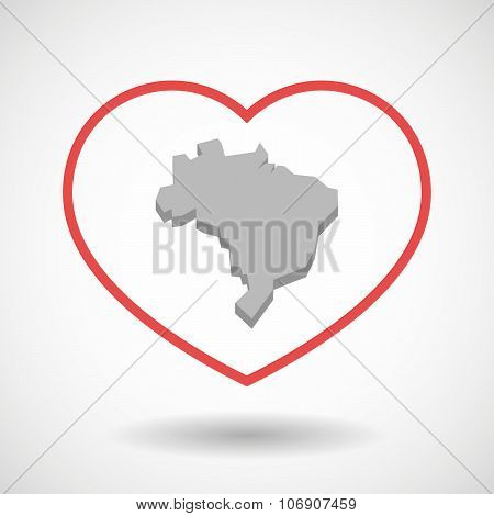 Line Hearth Icon With  A Map Fo Brazil