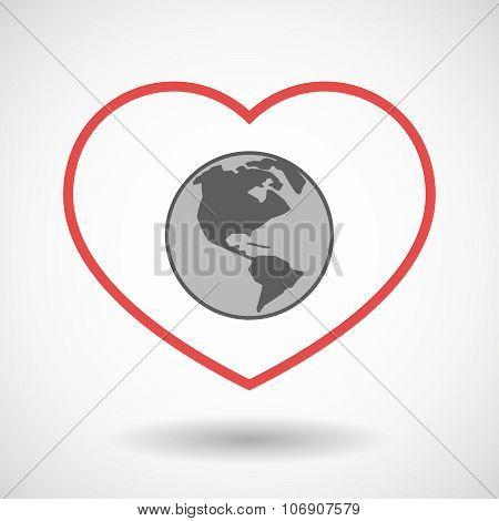 Line Hearth Icon With An America Region World Globe