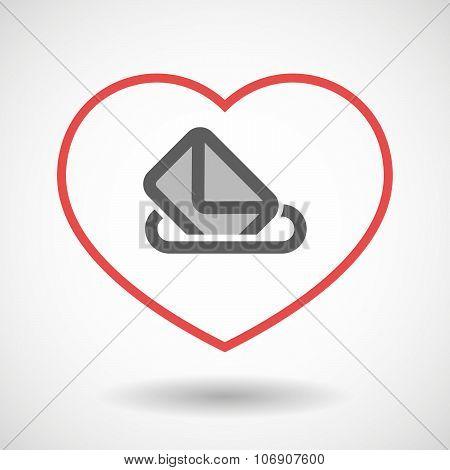 Line Hearth Icon With  A Ballot Box