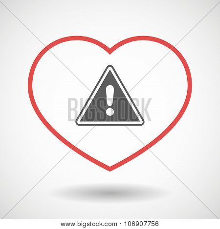 Line Hearth Icon With A Warning Signal
