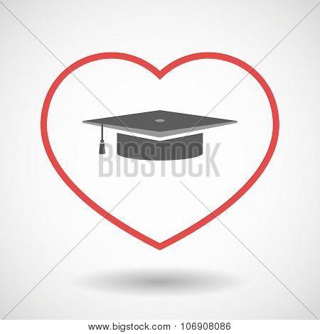 Line Hearth Icon With A Graduation Cap
