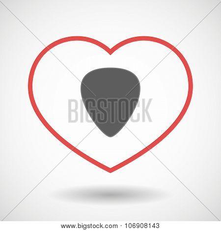 Line Hearth Icon With A Plectrum