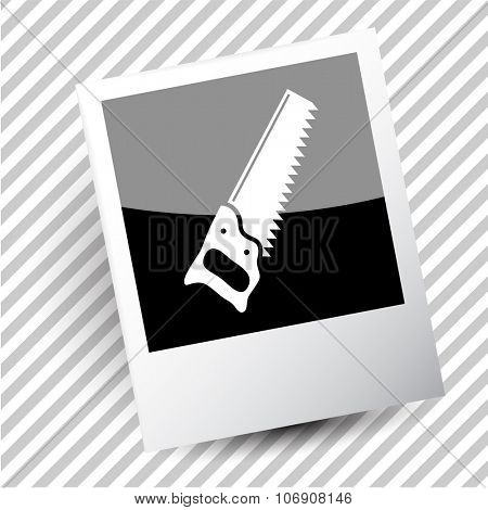 saw. Photoframe. Vector icon.