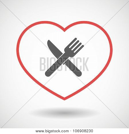 Line Hearth Icon With A Knife And A Fork