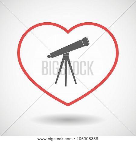 Line Hearth Icon With A Telescope