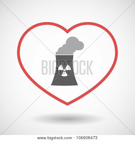 Line Hearth Icon With A Nuclear Power Station