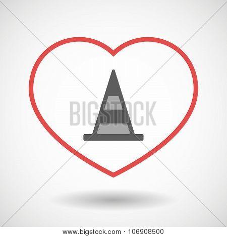 Line Hearth Icon With A Road Cone