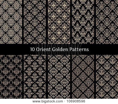 Collection Of Orient Golden Vector Patterns On Black Background. Patterns Added As Swatches.