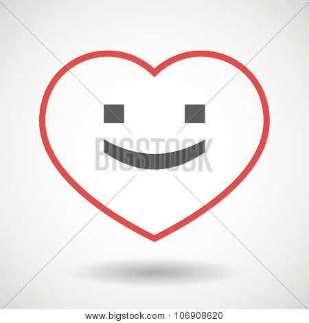 Line Hearth Icon With A Smile Text Face