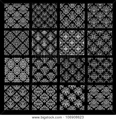 Set Of Ethnic Damask Vector Patterns In Black And White Colors. All Patterns Added As Swatches.